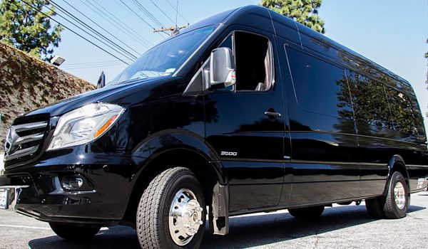 18 passenger mercedes sprinter van low angle